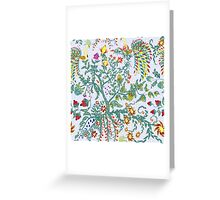 Fairy floral seamless pattern with beautiful birds and tree on white Greeting Card
