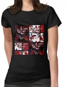 Patchwork retro autumn rowanberry pattern texture Womens Fitted T-Shirt