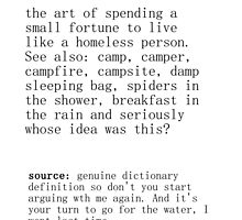 Camping - dictionary definition by Wendy Massey