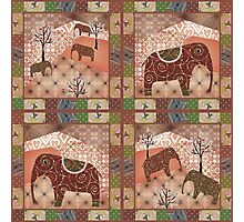 Patchwork seamless african pattern with animals elephants background Photographic Print