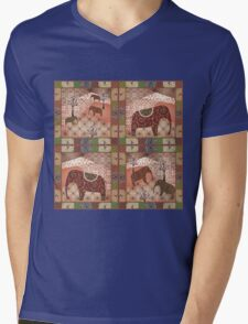Patchwork seamless african pattern with animals elephants background Mens V-Neck T-Shirt