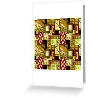 Patchwork seamless geometric folk pattern texture background Greeting Card