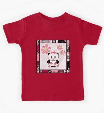 Cat kids animal illustration background Kids Tee