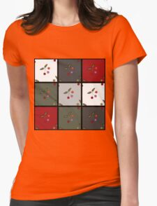 Patchwork seamless pattern texture background with cherries Womens Fitted T-Shirt