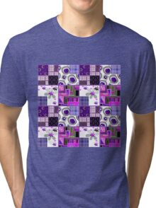 Patchwork design purple bright floral pattern texture background Tri-blend T-Shirt
