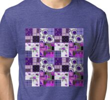 Patchwork design purple bright floral pattern texture background Tri-blend T-Shirt