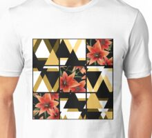 Patchwork seamless floral orange lilly pattern texture background with decorative elements Unisex T-Shirt