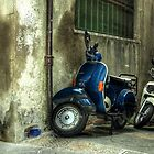 Vespa in blue by funkymarmalade