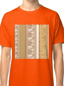 Retro colors floral roses vertical lines pattern texture beige brown background Classic T-Shirt