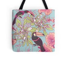 Seamless floral background with petunia toucan Tote Bag
