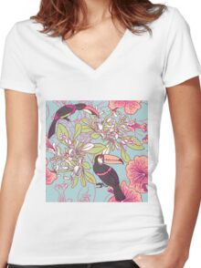Seamless floral background with petunia toucan Women's Fitted V-Neck T-Shirt