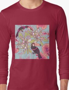 Seamless floral background with petunia toucan Long Sleeve T-Shirt