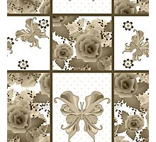 Seamless vintage floral sepia retro colors rose butterfly pattern background Photographic Print