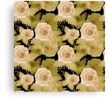 Abstract elegance seamless pattern with beige roses flowers background Canvas Print