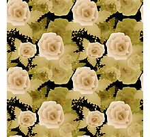 Abstract elegance seamless pattern with beige roses flowers background Photographic Print