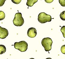 seamless pattern of fruit - apple and pear by OlgaBerlet