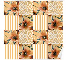 Patchwork seamless floral orange lilly pattern texture background with stripes Poster