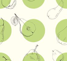 Raster version. Seamless texture of a pear. Illustration for design on white background by OlgaBerlet