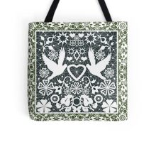 White lace pattern with pigeons on green Tote Bag