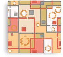 Abstract modern squares circles seamless pattern orange Canvas Print