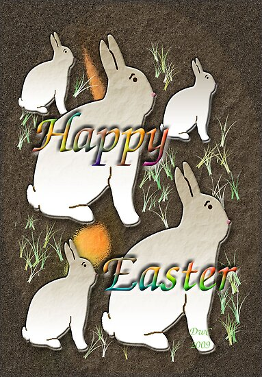 Happy Easter Rabbit (white) by Terri Chandler