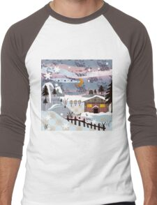 Retro christmas patchwork design nature winter picture Men's Baseball ¾ T-Shirt
