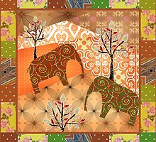 Pattern with elephants patchwork elements brown african by fuzzyfox