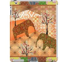 Pattern with elephants patchwork elements brown african iPad Case/Skin