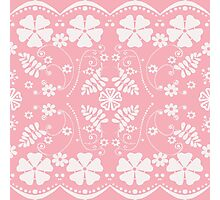 White seamless lace pattern on pink background Photographic Print