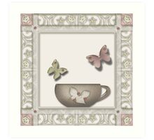 Tea cup illustration glassy effect frame menu Art Print