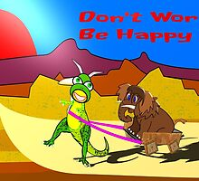 Don't Worry be Happy Dinosaur and Wooly Mammoth card by Dennis Melling
