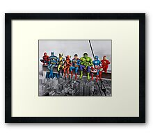 Superheroes on Girder Framed Print