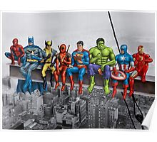 Superheroes on Girder Poster
