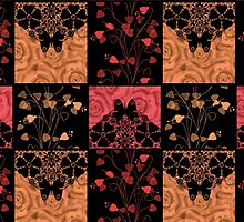 Patchwork seamless lace retro floral hearts by fuzzyfox