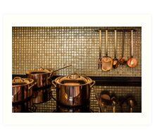 golden luxury kitchen cookware Art Print