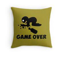 game over puke drunk cartoon funny Throw Pillow