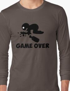 game over puke drunk cartoon funny Long Sleeve T-Shirt