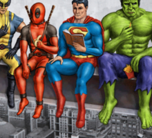 Superheroes on Girder Sticker