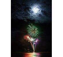 Full Moon Fireworks Photographic Print