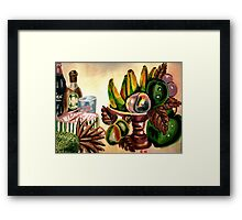 A still life of fruits and drinks Framed Print