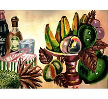 A still life of fruits and drinks Photographic Print
