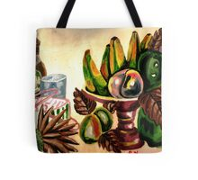 A still life of fruits and drinks Tote Bag