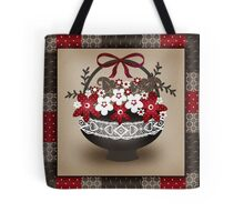 Patchwork modern elements with flowers basket retro spring Tote Bag