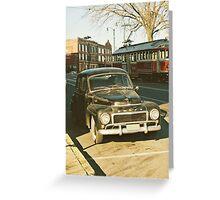 car vs. trolley Greeting Card