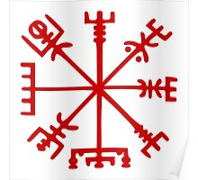 Blood Red Vegvísir (Viking Compass) Poster