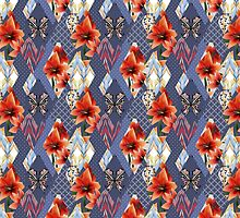 Patchwork seamless floral orange lilly pattern texture with decorative elements by fuzzyfox