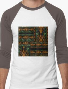 Patchwork seamless snake skin pattern Men's Baseball ¾ T-Shirt
