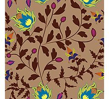 Chinese retro floral seamless pattern on beige Photographic Print