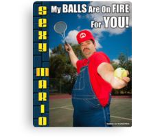 SexyMario MEME - My Balls Are On Fire For You 3 Canvas Print
