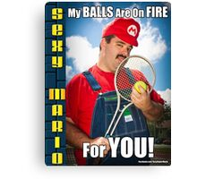 SexyMario MEME - My Balls Are On Fire For You 4 Canvas Print
